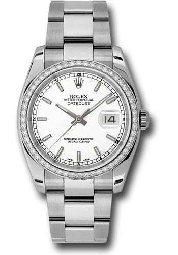 Rolex Watches - Datejust 36mm - Steel White Gold Dia Bezel - Oyster - Style No: 116244 wio