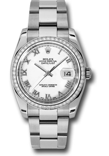 Rolex Watches - Datejust 36mm - Steel White Gold Dia Bezel - Oyster - Style No: 116244 wro