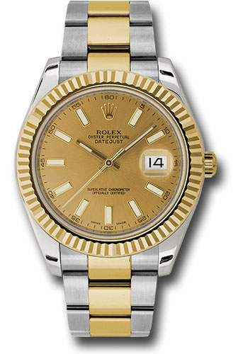 Rolex Watches - Datejust II 41mm - Steel and Gold Yellow Gold - Fluted Bezel - Style No: 116333 chio