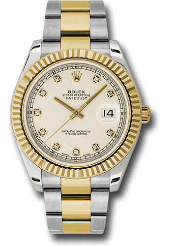 Rolex Watches - Datejust II 41mm - Steel and Gold Yellow Gold - Fluted Bezel - Style No: 116333 ido