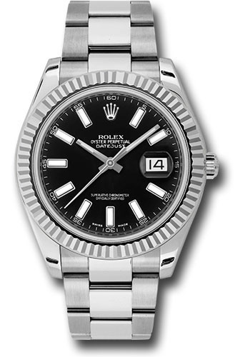 Rolex Watches - Datejust II 41mm - Steel and Gold White Gold - Fluted Bezel - Style No: 116334 bkio