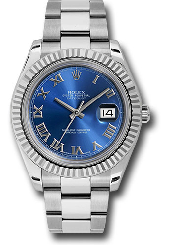Rolex Watches - Datejust II 41mm - Steel and Gold White Gold - Fluted Bezel - Style No: 116334 blro