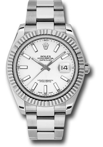 Rolex Watches - Datejust II 41mm - Steel and Gold White Gold - Fluted Bezel - Style No: 116334 wio