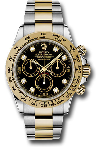 Rolex Yellow Rolesor Cosmograph Daytona 40 Watch , Black Diamond Dial ,  116503 bkd