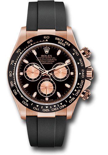 Rolex Everose Gold Cosmograph Daytona 40 Watch , Black Index Dial , Black  Oysterflex Strap , 116515LN bkpof