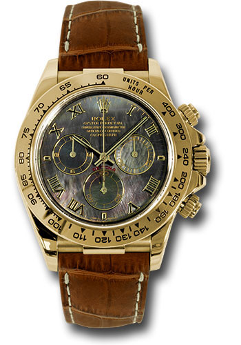 Rolex Watches - Daytona Yellow Gold - Leather Strap - Style No: 116518 dkmrbr