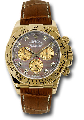 Rolex Watches - Daytona Yellow Gold - Leather Strap - Style No: 116518 dkymbr