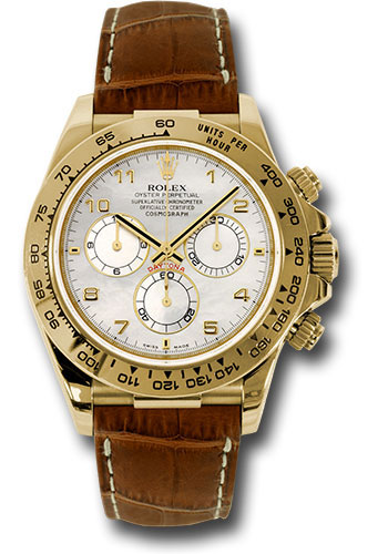 Rolex Watches - Daytona Yellow Gold - Leather Strap - Style No: 116518 mabr