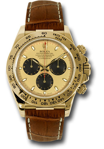 Rolex Watches - Daytona Yellow Gold - Leather Strap - Style No: 116518 pnbr