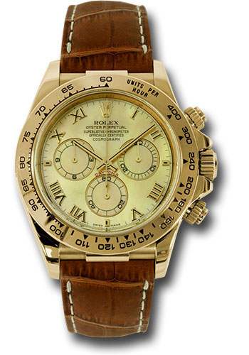 Rolex Watches - Daytona Yellow Gold - Leather Strap - Style No: 116518 ym