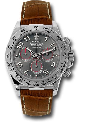 Rolex Daytona White Gold Leather Strap Watches
