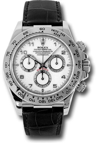 Rolex 116519 Wabk Daytona White Gold Leather Strap Watch