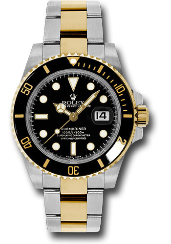 Rolex Steel and Gold Rolesor Submariner Date Watch , Black Dial , 116613 bk