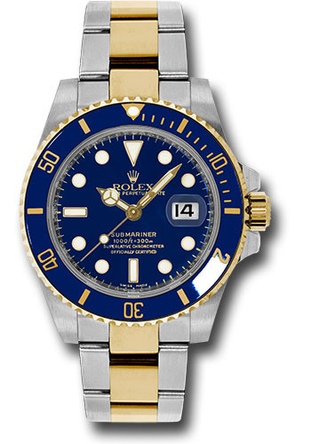 Rolex Steel And Gold Rolesor Submariner Date Watch Blue Dial 116613 Bk