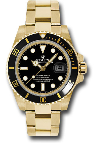 Rolex Yellow Gold Submariner Date Watch , Black Dial , 116618 bk