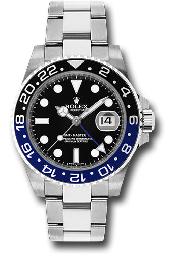 Rolex Steel Gmt Master Ii 40 Watch Black And Blue Batman Bezel Black Dial Oyster Bracelet 116900 Bk