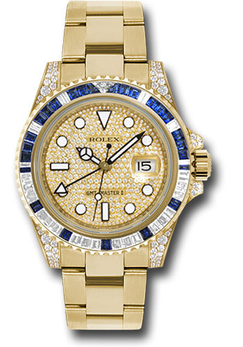 Rolex Watches - GMT-Master II Yellow Gold - Style No: 116758SA pave