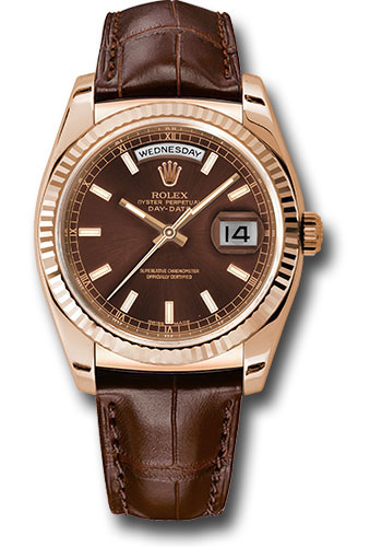 Rolex Everose Gold Day Date 36 Watch Fluted Bezel Chocolate Index Dial Brown Leather 118135 Chl