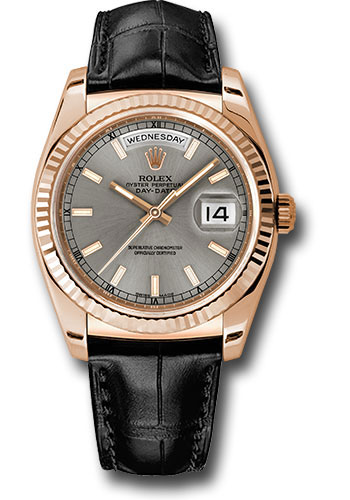 Rolex Watches - Day-Date President Pink Gold - Fluted Bezel - Leather - Style No: 118135 rhl