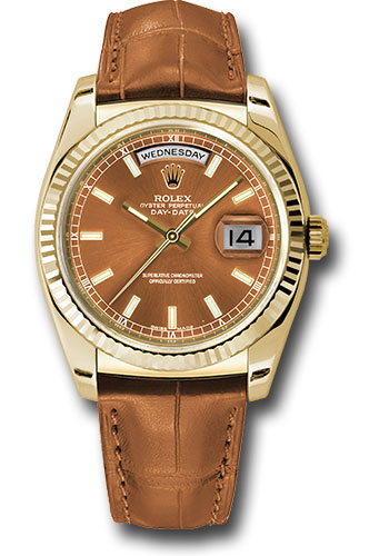 Rolex Watches - Day-Date President Yellow Gold - Fluted Bezel - Leather - Style No: 118138 col