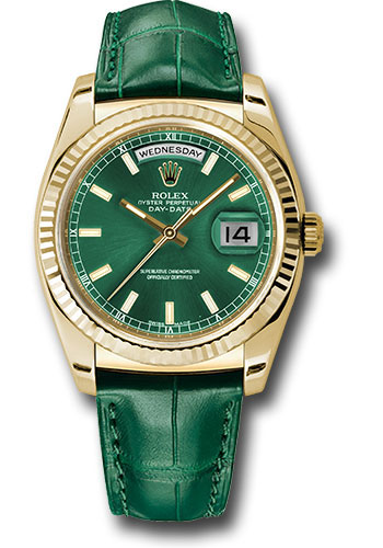 Rolex Watches - Day-Date President Yellow Gold - Fluted Bezel - Leather - Style No: 118138 grl