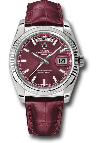 Rolex Watches - Day-Date President White Gold - Fluted Bezel - Leather - Style No: 118139 chl