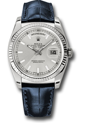 Rolex Watches - Day-Date 36 White Gold - Fluted Bezel - Leather - Style No: 118139 sibl