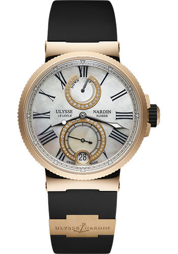 Ulysse Nardin Watches - Marine Chronometer Lady 39mm - Rose Gold - Rubber Strap - Style No: 1182-160-3/490