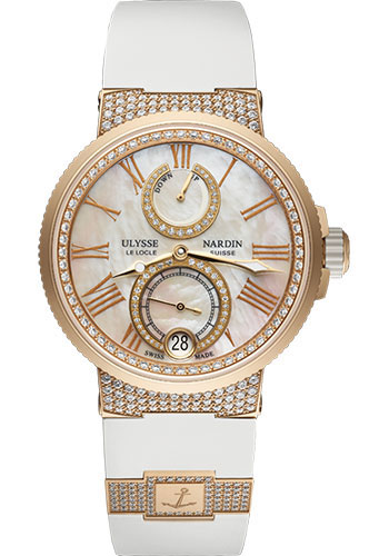 Ulysse Nardin Watches - Marine Chronometer Lady 39mm - Rose Gold - Rubber Strap - Style No: 1182-160C-3C/490