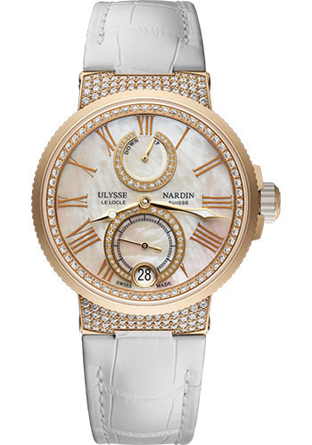 Ulysse Nardin Watches - Marine Chronometer Lady 39mm - Rose Gold - Leather Strap - Style No: 1182-160C/490