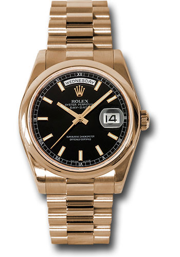 Rolex Watches - Day-Date President Pink Gold - Domed Bezel - President - Style No: 118205 bksp