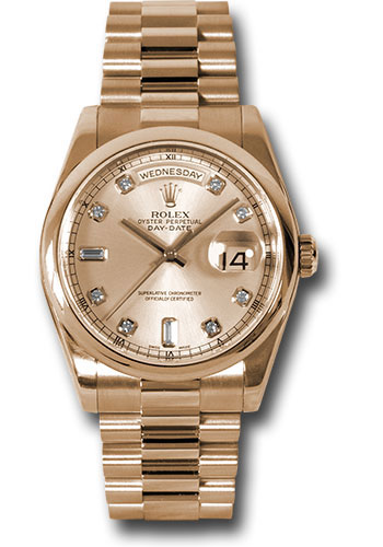 Rolex Watches - Day-Date President Pink Gold - Domed Bezel - President - Style No: 118205 chdp