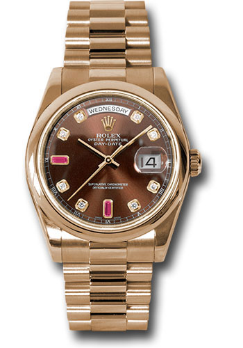 Rolex Watches - Day-Date President Pink Gold - Domed Bezel - President - Style No: 118205 chodrp
