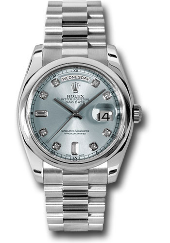 Rolex Watches - Day-Date President Platinum - Domed Bezel - President - Style No: 118206 gladp