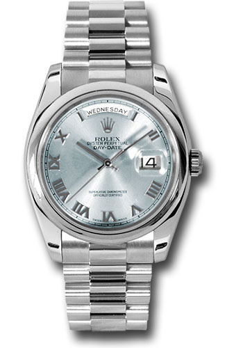 Rolex Watches - Day-Date President Platinum - Domed Bezel - President - Style No: 118206 glarp