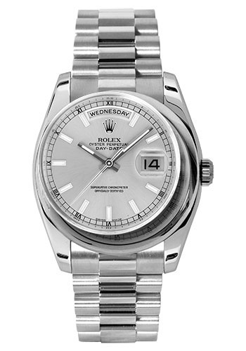 Rolex Watches - Day-Date President Platinum - Domed Bezel - President - Style No: 118206 sip