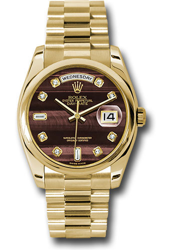Rolex Watches - Day-Date President Yellow Gold - Domed Bezel - President - Style No: 118208 bedp