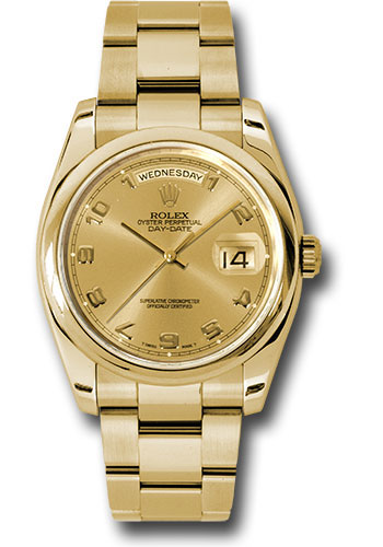 Rolex Watches - Day-Date 36 Yellow Gold - Domed Bezel - Oyster - Style No: 118208 chao