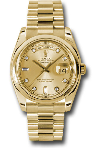 Rolex Watches - Day-Date President Yellow Gold - Domed Bezel - President - Style No: 118208 chdp