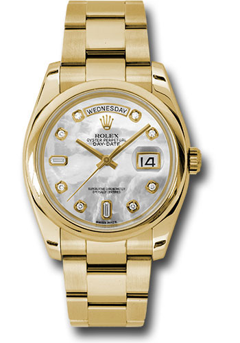 Rolex Watches - Day-Date President Yellow Gold - Domed Bezel - Oyster - Style No: 118208 mdo