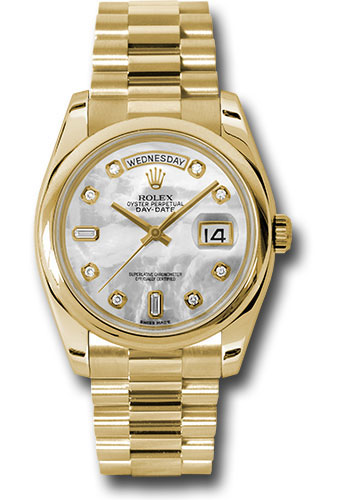 Rolex Watches - Day-Date President Yellow Gold - Domed Bezel - President - Style No: 118208 mdp