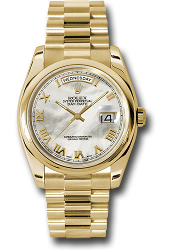 Rolex Watches - Day-Date President Yellow Gold - Domed Bezel - President - Style No: 118208 mrp