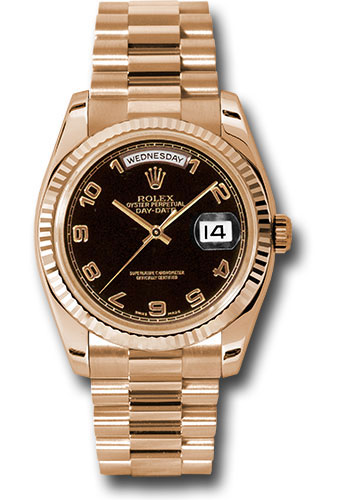 Rolex Watches - Day-Date 36 Pink Gold - Fluted Bezel - President - Style No: 118235 bkap