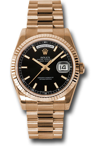 Rolex Watches - Day-Date President Pink Gold - Fluted Bezel - President - Style No: 118235 bksp