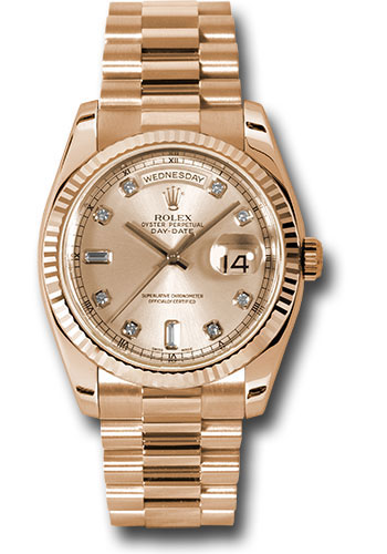 Rolex Watches - Day-Date President Pink Gold - Fluted Bezel - President - Style No: 118235 chdp