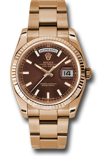 Rolex Watches - Day-Date President Pink Gold - Fluted Bezel - Oyster - Style No: 118235 choio