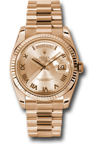 Rolex Watches - Day-Date President Pink Gold - Fluted Bezel - President - Style No: 118235 chrp