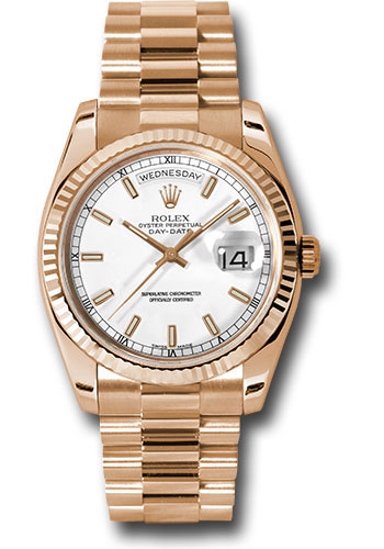 Rolex Watches - Day-Date President Pink Gold - Fluted Bezel - President - Style No: 118235 wsp