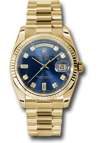 Rolex Watches - Day-Date President Yellow Gold - Fluted Bezel - President - Style No: 118238 bdp