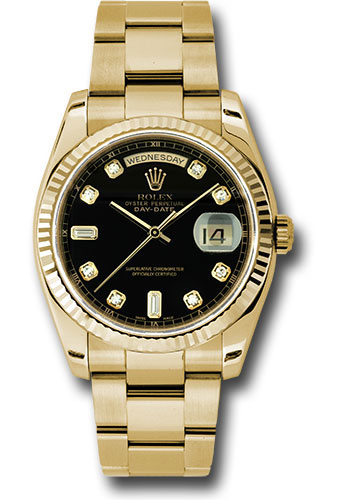 Rolex Watches - Day-Date President Yellow Gold - Fluted Bezel - Oyster - Style No: 118238 bkdo